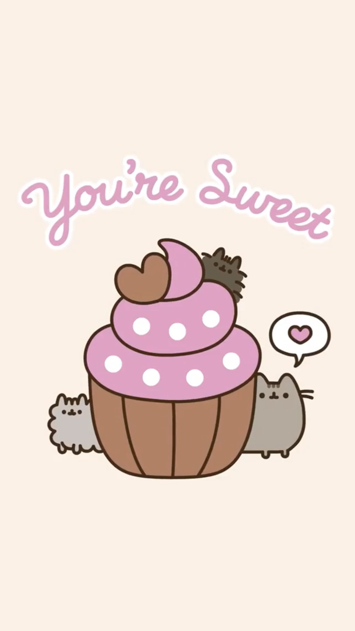 pusheen the cat iphone wallpaper valentine's day hearts