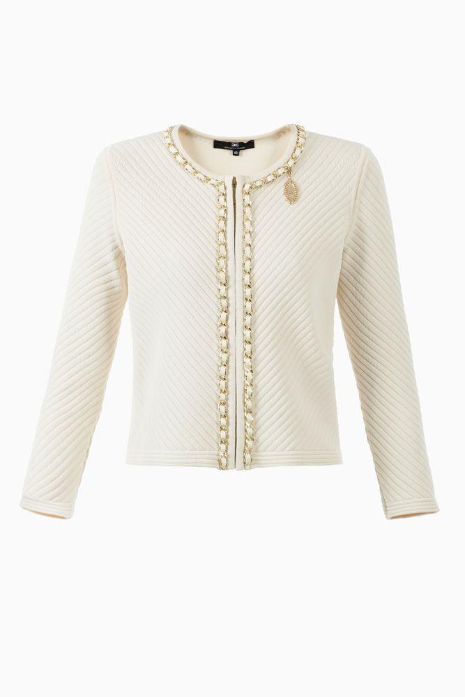 Giacca tricot impunturata - Top su Digital Store ELISABETTA FRANCHI - la Boutique online ufficiale