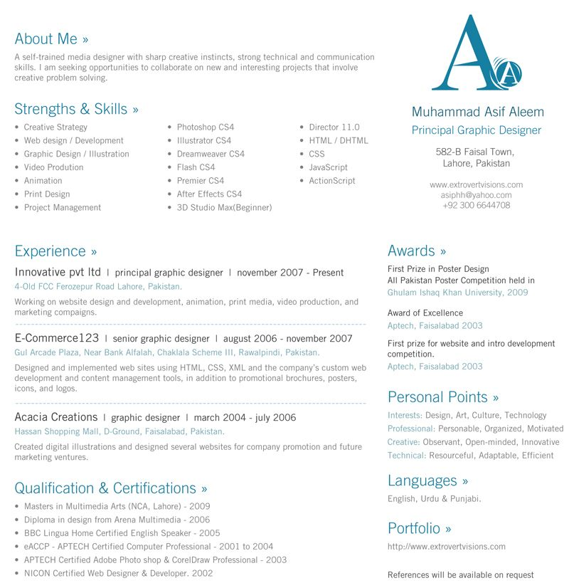 30 Beautiful Designer S One Page Resume Samples The Design Work One Page Resume Resume Template Resume Examples