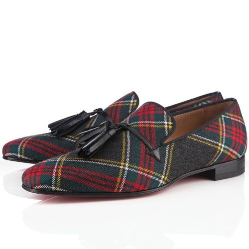 75dde904745 Christian Louboutin Daddy Men Flat Tartan Sneakers Anthracite ...