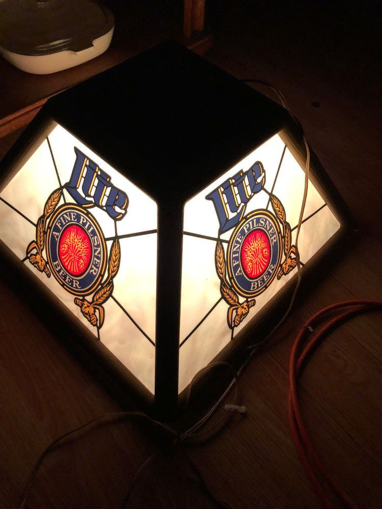Miller Lite Beer Sign Hanging Lamp Bar Pool Table Light