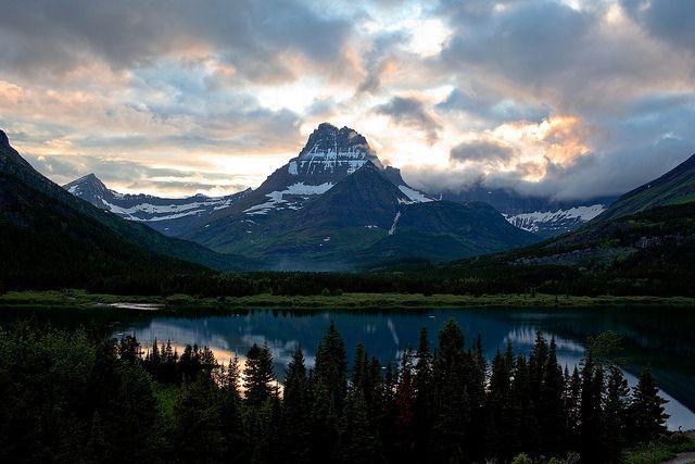 many glacier   Sunset at Many Glacier Lodge   Flickr - Photo Sharing!