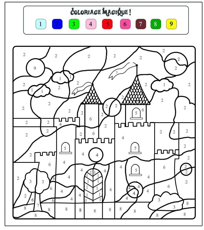 color by number castle worksheet crafts and worksheets for