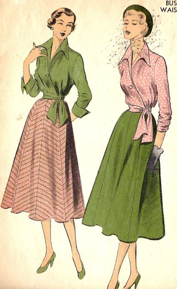 1950s Vintage Sewing Pattern Advance 5563 Blouse With