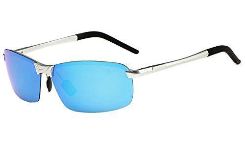 ATTCL Herren Hohe Qualität Ultraleicht Al Mg Rahmenantriebs polarisierten Sonnenbrillen 18143 Blau 6DeHt