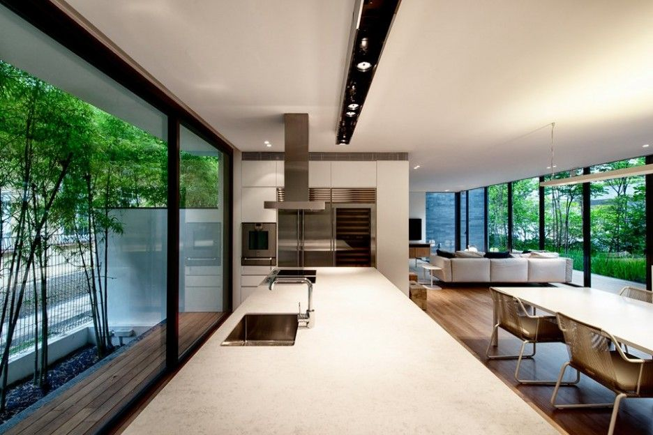 Luxurious private house in singapore cool wall design interior kitchen and dining space also rh pinterest