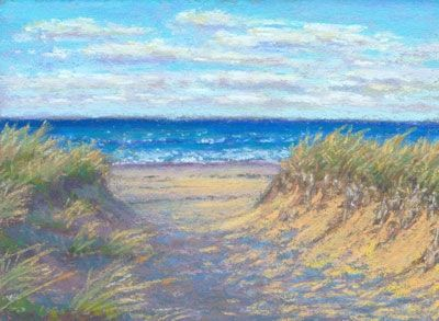 Daily Painting Cape Cod Seascape Miniature Beach Path Nancy Poucher