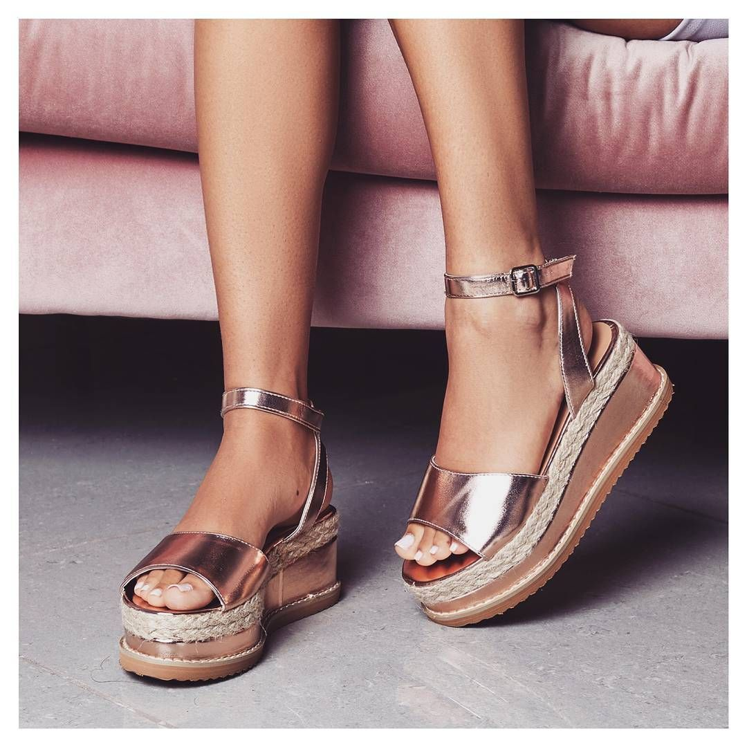 5aec4555d775 Someone say rose gold  Lucie Espadrille Flatform In Rose Gold Faux Leather.  Style