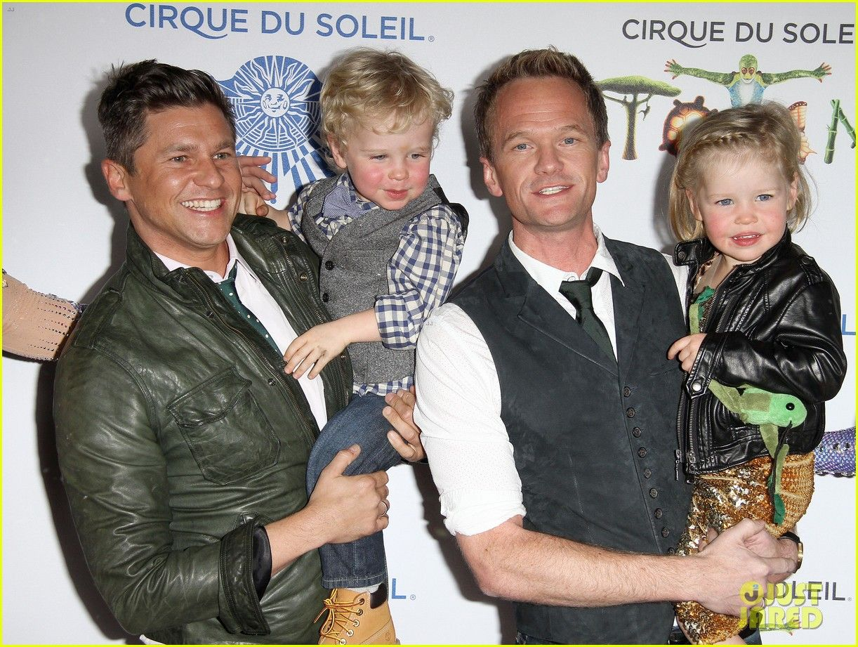 Neil Patrick Harris and David Burtka take their kids Gideon and Harper to Cirque du Soleil's Totem on January 21, 2014