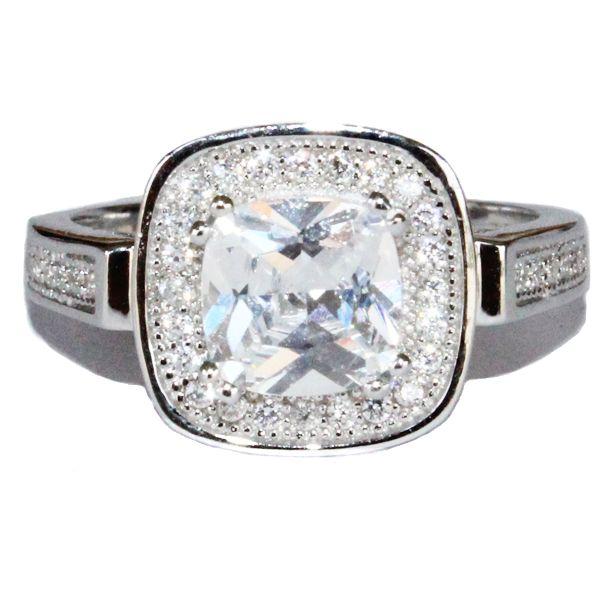 Diamond Halo Promise Ring - White Cubic Zirconia - Beautiful Promise Rings