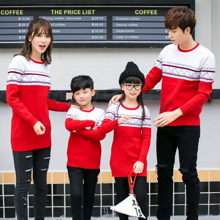 Mother Daughte Sweater Dress Parent Child Attire Family Matching Clothes Casual