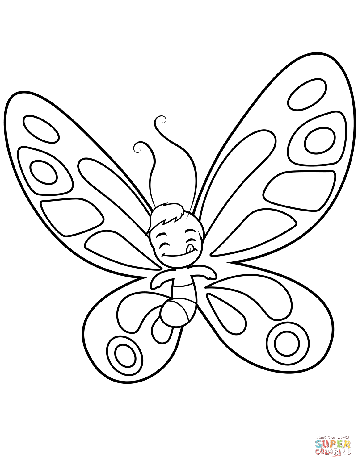 Cute Butterfly Boy Sticks Out The Tongue Coloring Page Free Printable Coloring Page Butterfly Coloring Page Butterfly Printable Free Printable Coloring Pages