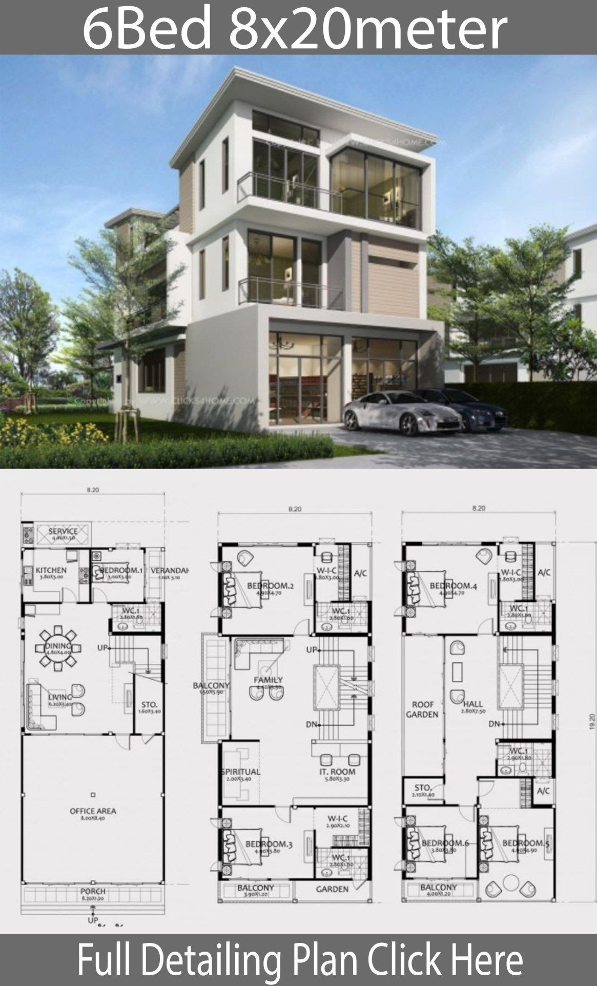 Modern House Plans Three Story Home Design Plan 8x20m With 6 Bedrooms Arsitektur Arsitektur Modern Arsitektur Rumah