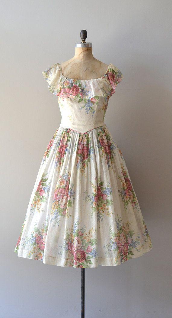 vintage 1940s dress / floral 40s dress / Meadow's End dress ...