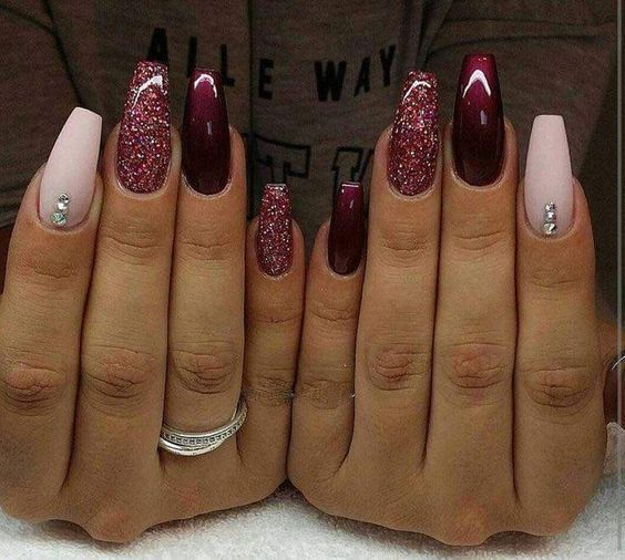 55 Acrylic Coffin Nail Designs For Fall And Winter Maroon Nail Designs November Nails Maroon Nails