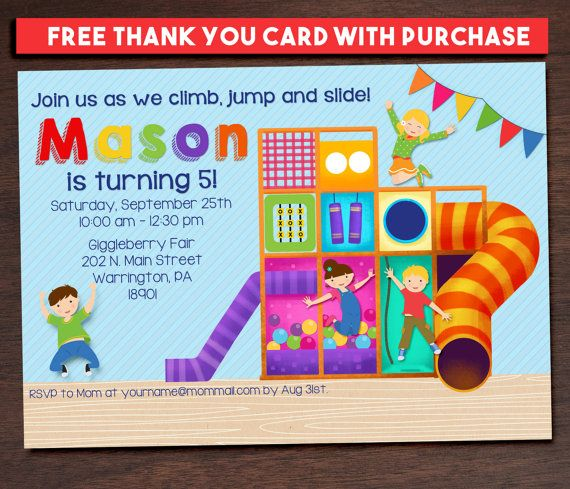 Indoor Playground Party Invitation Jungle By Dreamjarinvitations