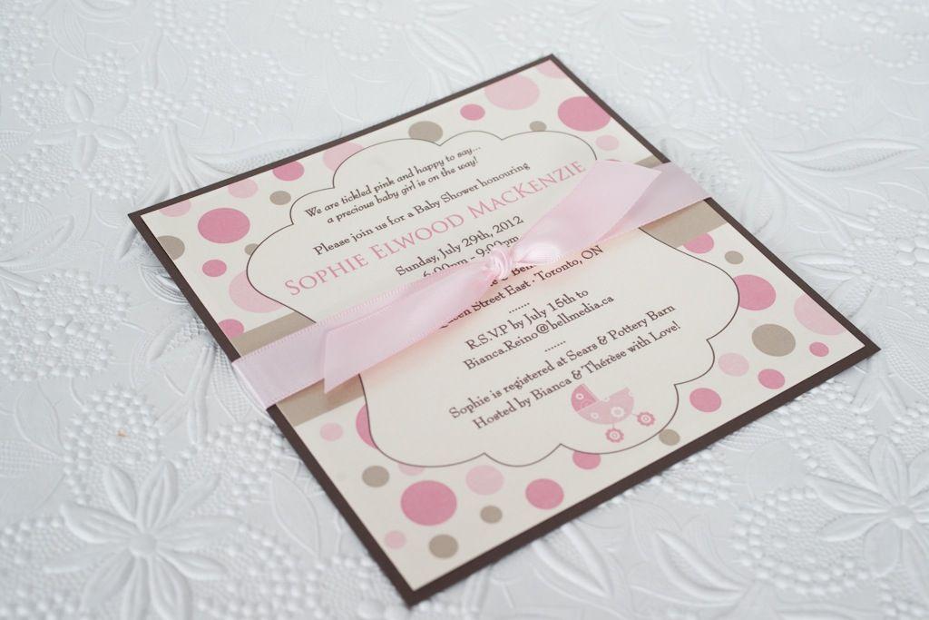 Ingledew Invites - Pink and Chocolate Brown Baby Shower Invitation