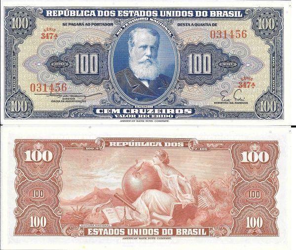 Brasil Cedula De 100 Cruzeiros D Pedro Ii Cat 030 Serie 347