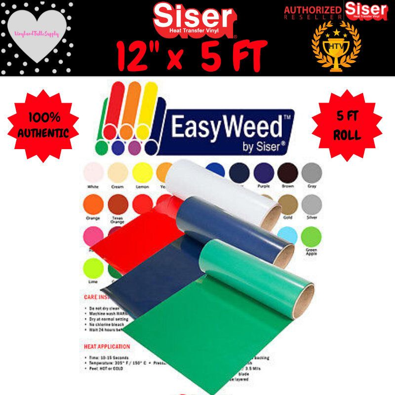 12 X 5 Foot Roll Siser Easyweed Heat Transfer Vinyl Etsy Siser Easyweed Heat Transfer Vinyl Vinyl Rolls