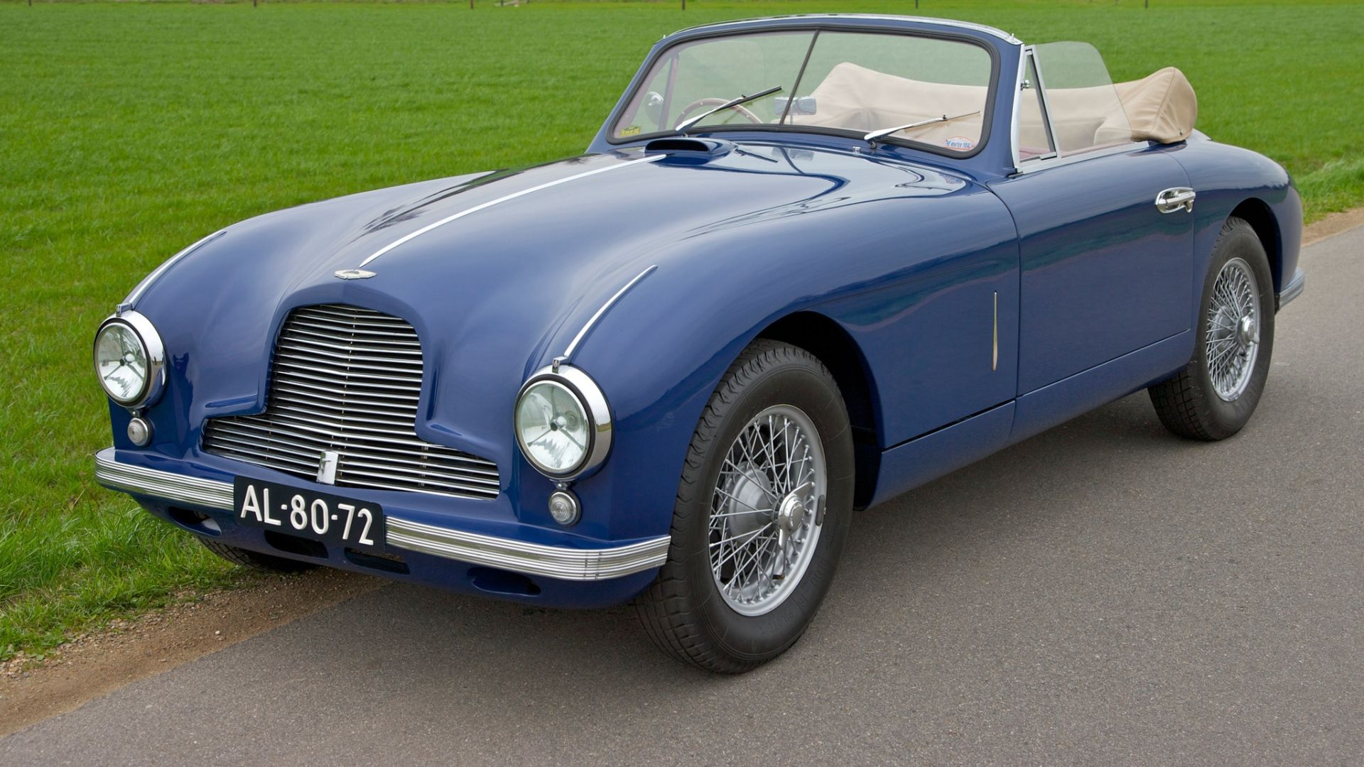 Download Wallpaper 1920x1080 Aston Martin 1951 Blue Side View Style Cars Nature Grass Houses Trees Full Hd 10 Aston Martin Db2 Aston Martin Cars Aston