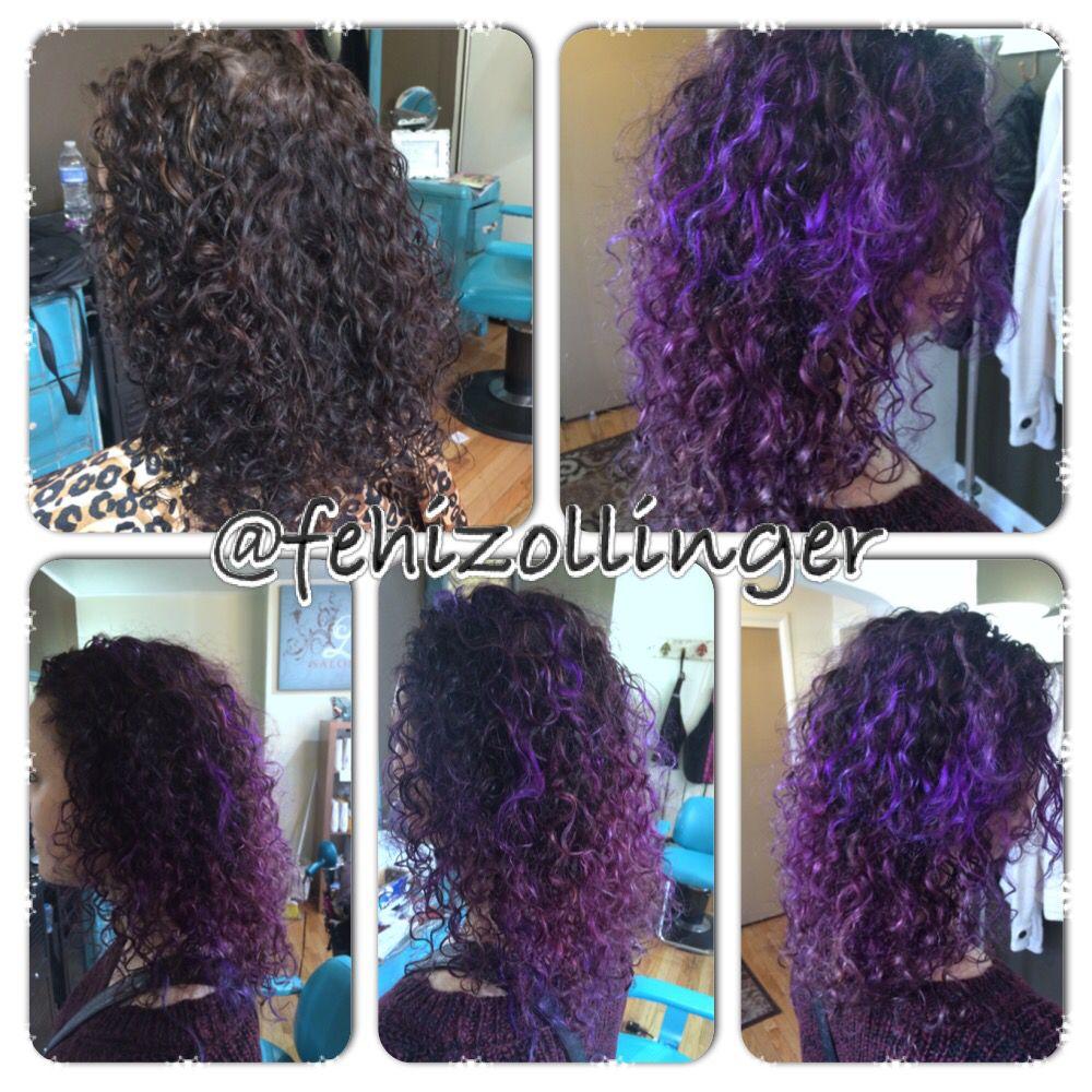 Dimentional Purple Hair On Natural Curly Hair Balayage Purple Highlights And Lowlights Fehizollinger Balayage Hair Purple Curly Hair Styles Purple Balayage