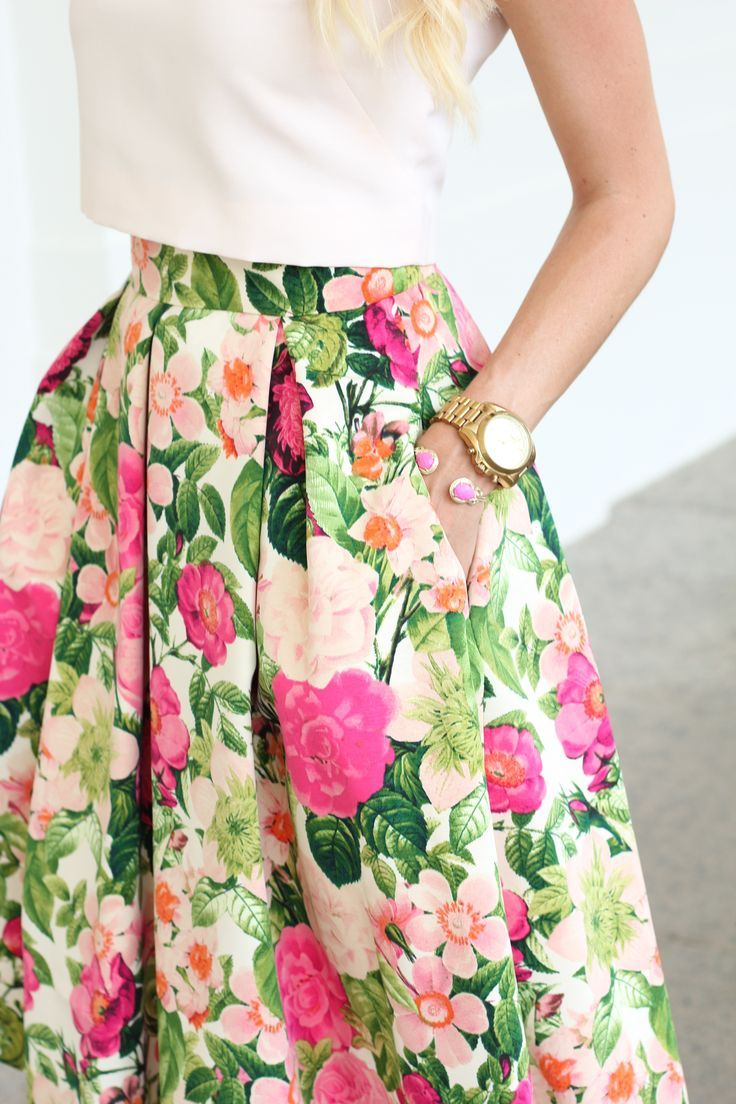 High waisted floral skirts tumblr