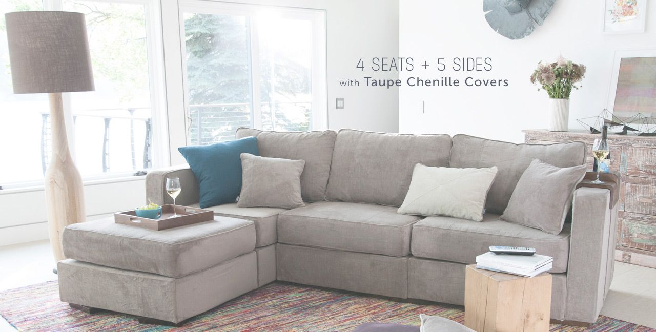 4 Seats 5 Sides With Taupe Chenille Covers Lovesac Sactional