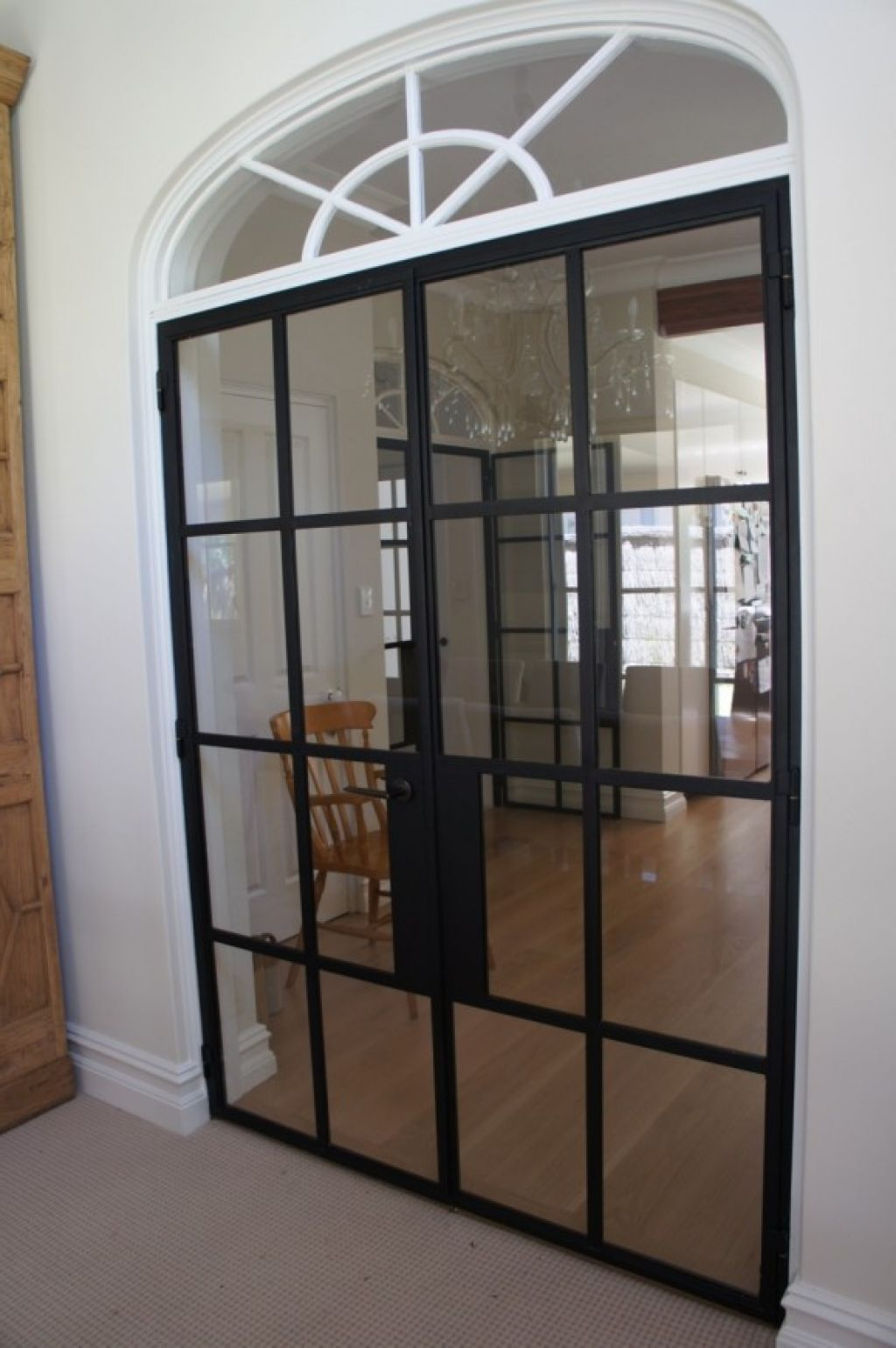 Vintage styled modern design iron french double door with arched modern french door with solid steel thin frame for easily replacement and clear glasses is used for the door window for brighter room rubansaba