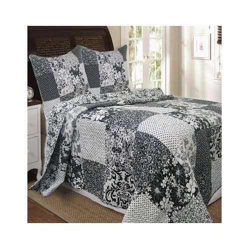 Full/Queen 3 Pc Black White Floral Patchwork Quilt Set Cotton Bedding Washable  #Country