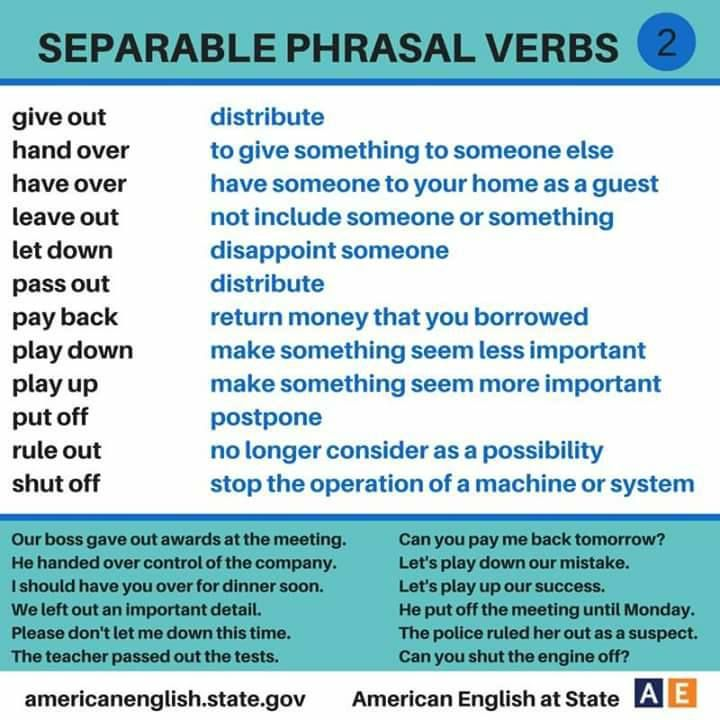 separable-phrasal-verbs-2 fdbs Pinterest English, Language - resume verbs list