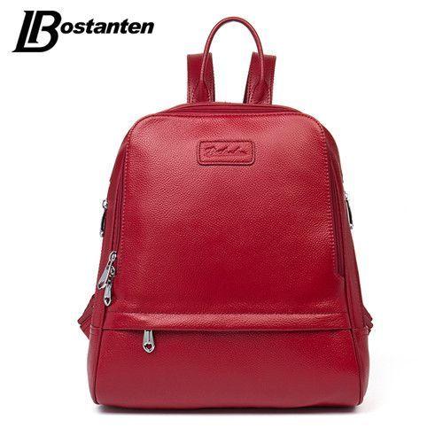 Bostanten Fashion Genuine Leather Backpack Women Bags Preppy Style Backpack  Girls School Bags Zipper Kanken Leather 28e5446bd9e4e