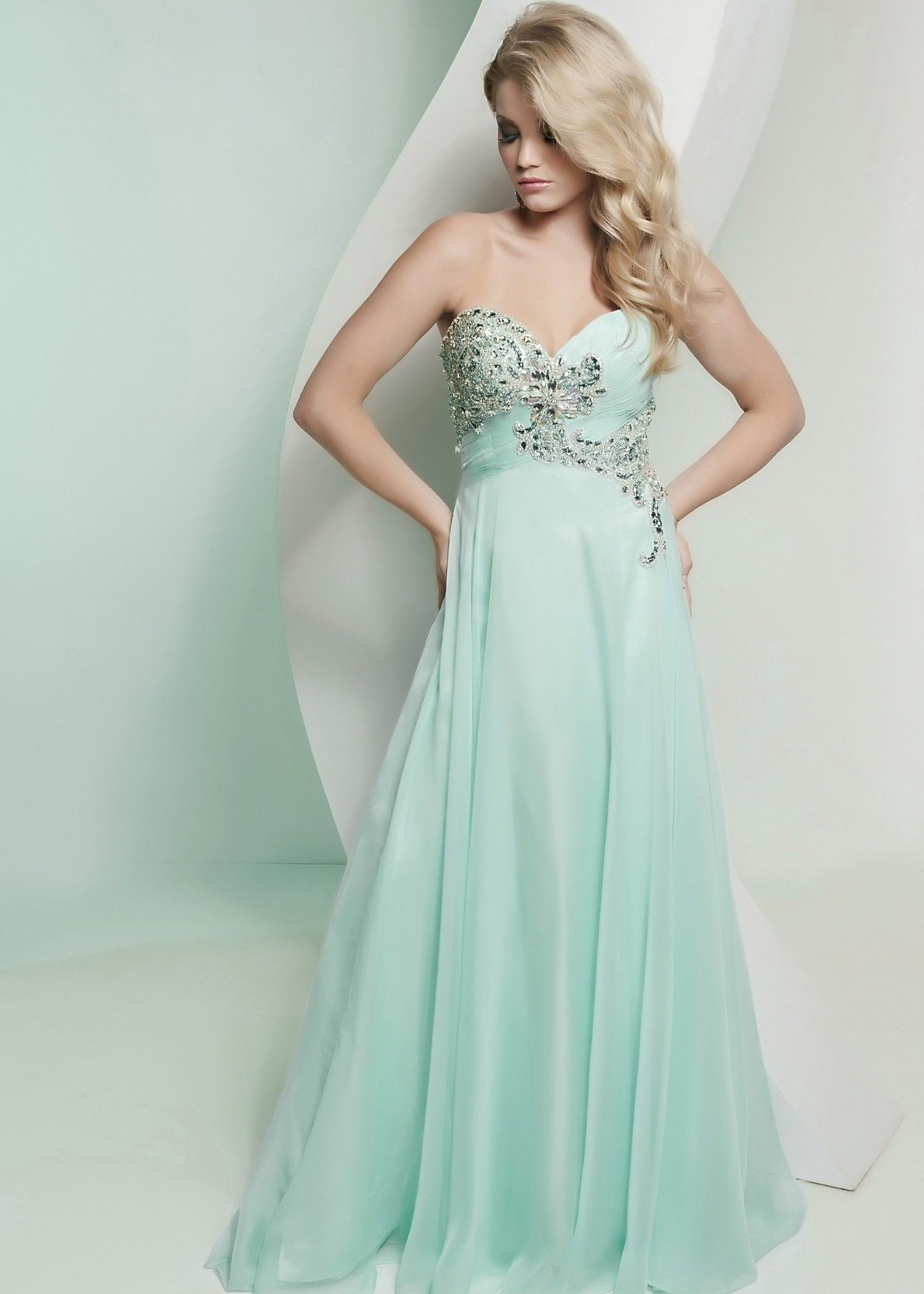 Chiffon mint jeweled prom dress prom pinterest chiffon