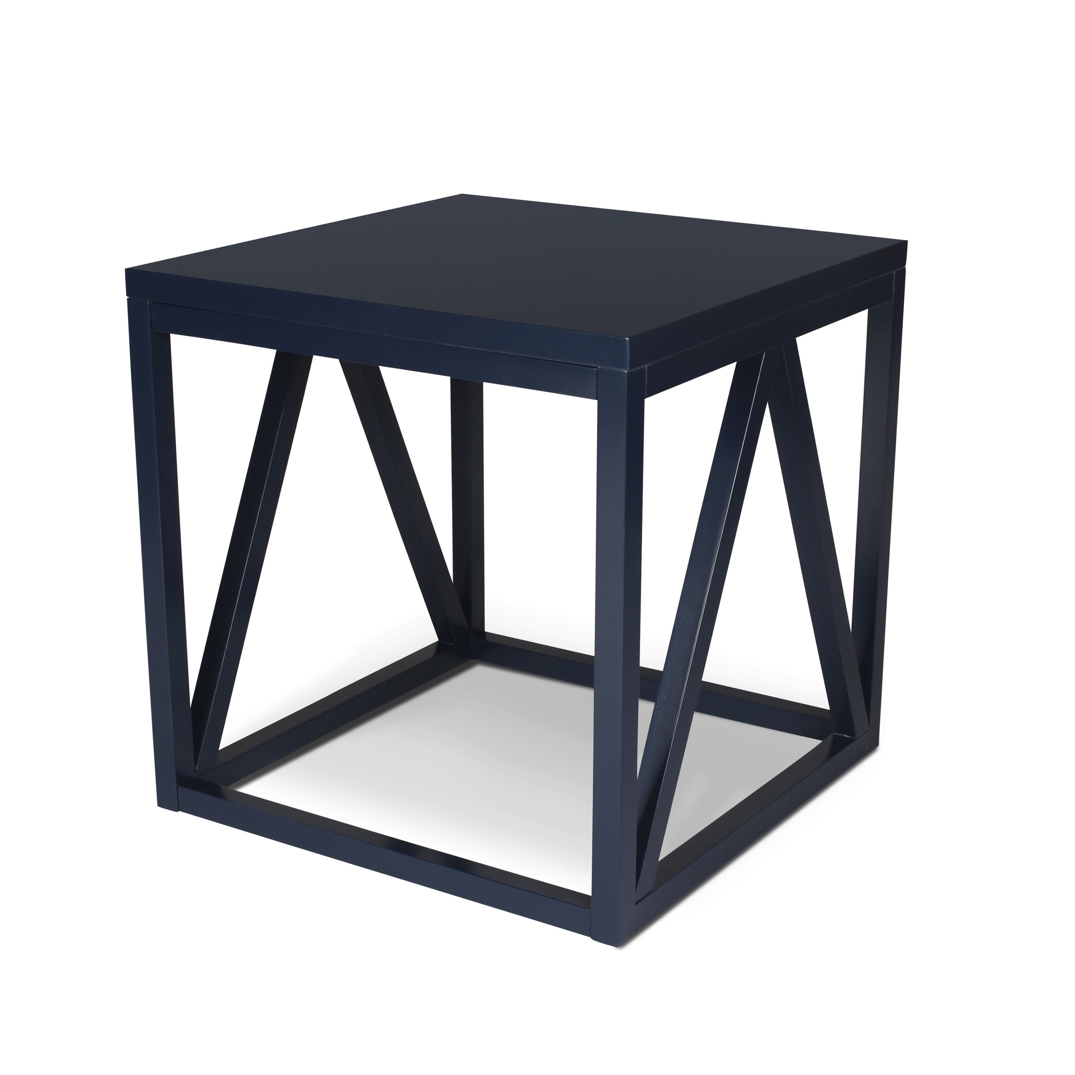 Kaya Wood Cube Side Table (White And Black Side Table)
