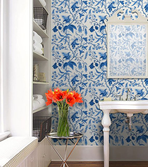 Chinoise Blue Peel N Stick Or Traditional Wallpaper Etsy House Interior Home Decor Decor