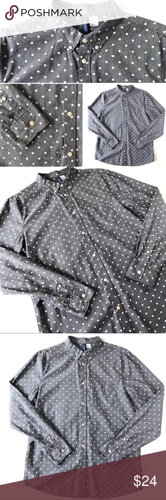 d74625303 H&M l Men's polka dot long sleeve shirt H&M Divided men's long sleeved gray  chambray shirt