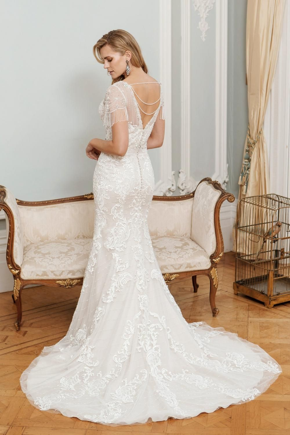Alexa 1930s style beaded sleeve bridal gown True by