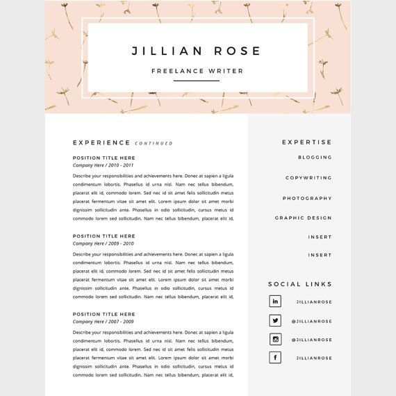 resume template 3 page pack