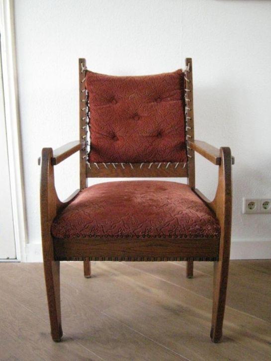 Wonderbaar Front Art deco stoel / Amsterdamse school Chair oak & velours HS-43