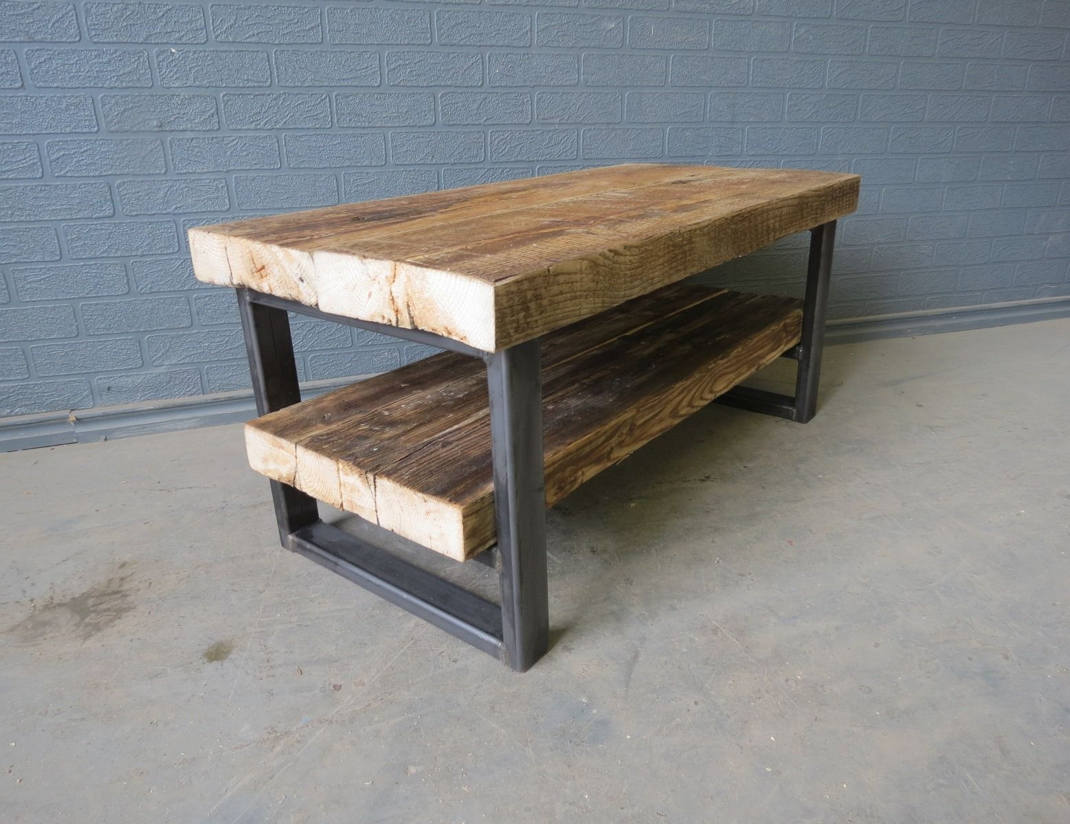 Reclaimed industrial chic solid wood metal tv stand for Stand up coffee table
