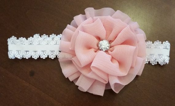 Baby Girl Headband-White and Coral by LoveFromAshley on Etsy