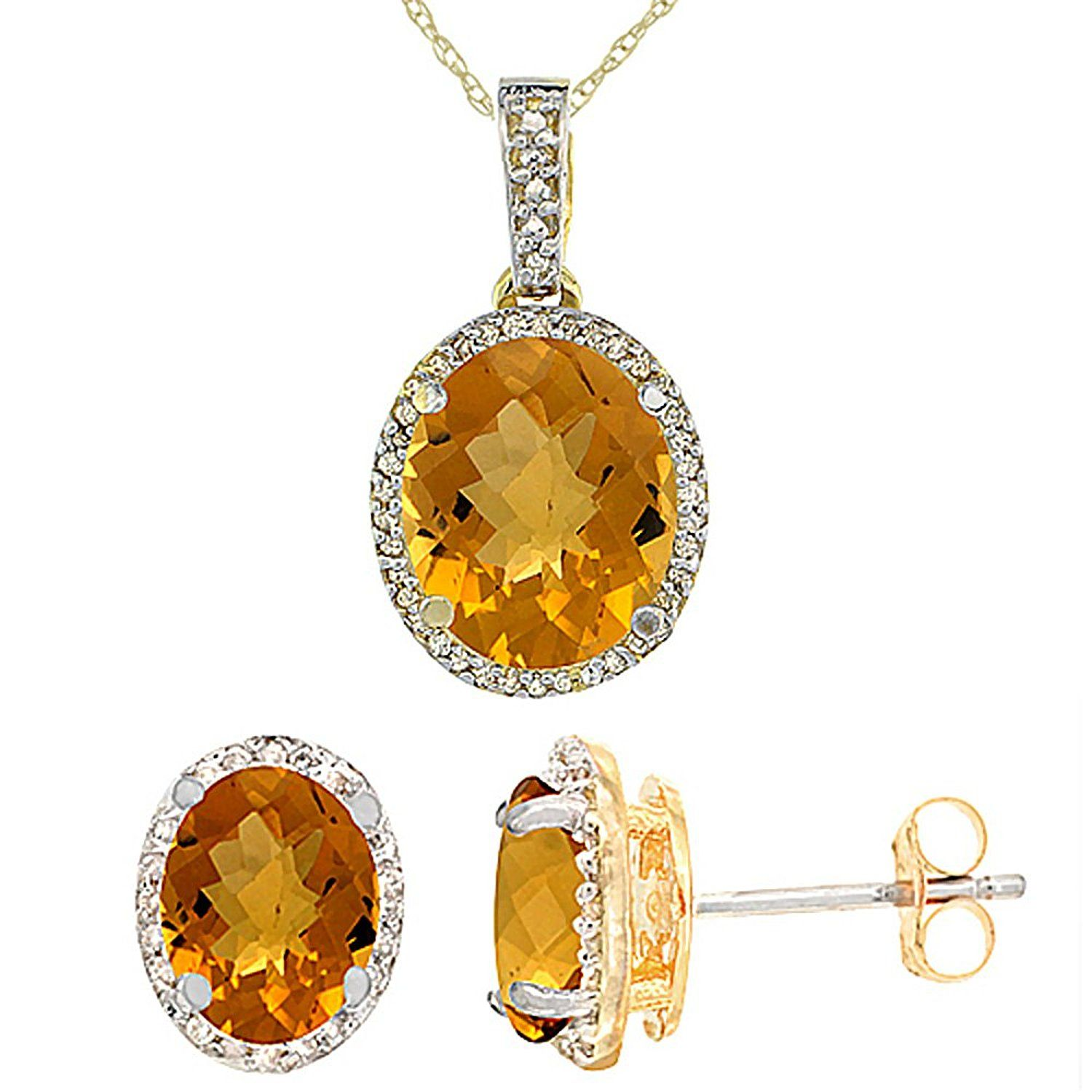 K yellow gold diamond natural whisky quartz oval earrings and