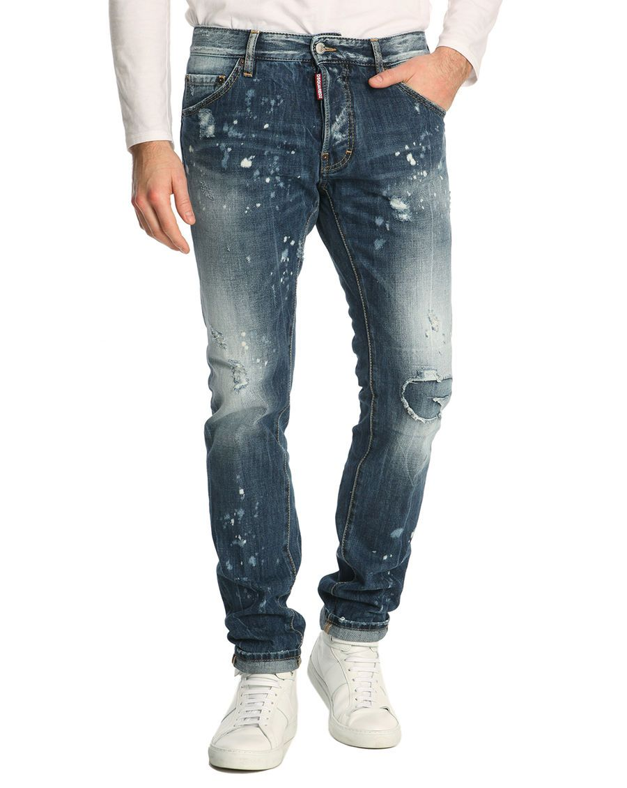 Jean Cool Guy Destroy Rapiecé Washed DSQUARED - Jeans Menlook - Iziva.com