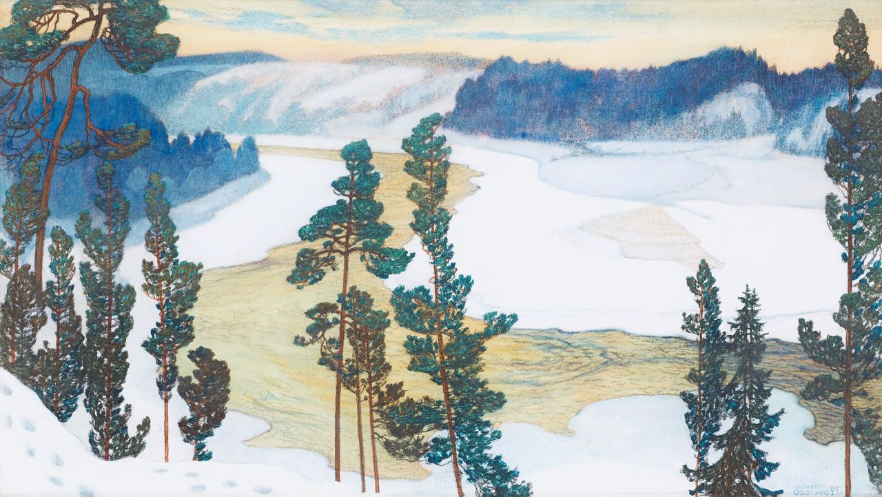 Helmer Osslund (Swedish, 1866-1938), Vårvinterdag med nysnö, Forsmo [Early spring with newly fallen snow, Forsmo], 1905. Watercolour and charcoal on paper, 43 x 77 cm.