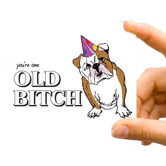 Birthday You Are One Old Bitch Girlfriend Bulldog Mature – Ugly Birthday Card