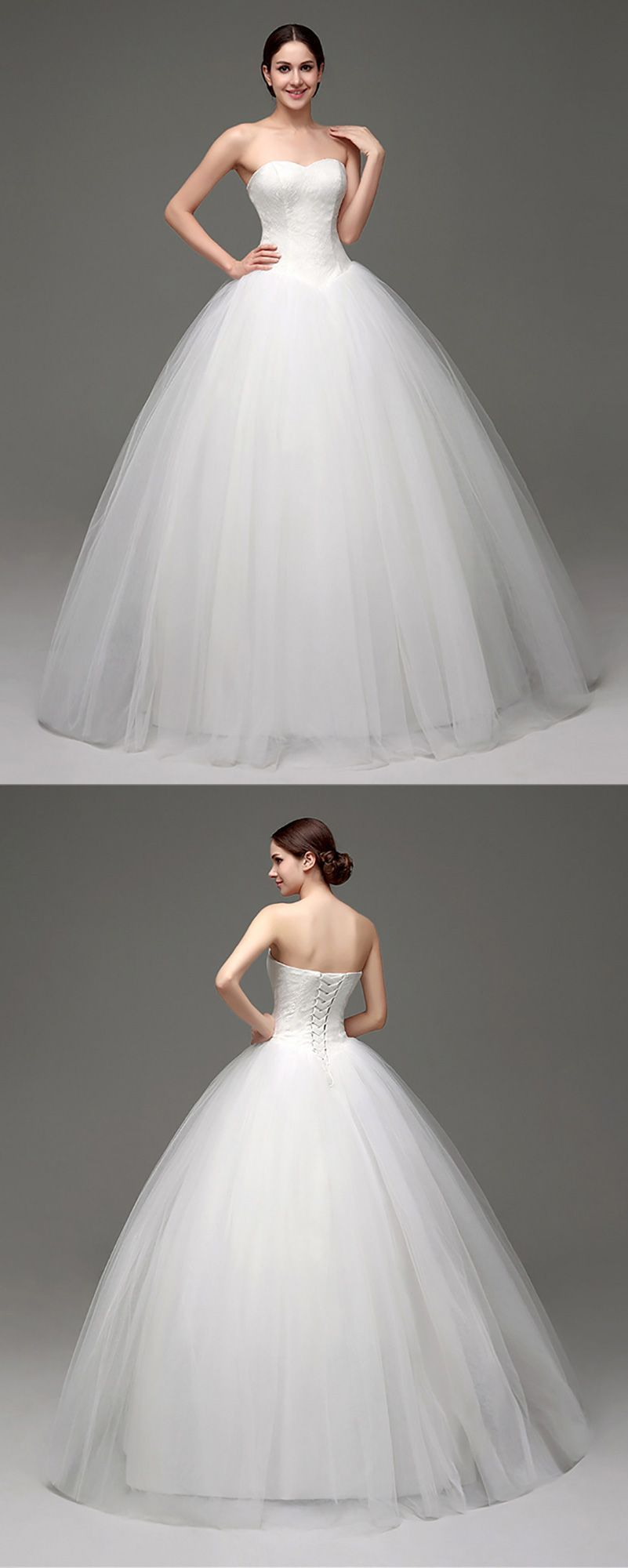 Only $138.99, Ball Gown Wedding Dresses Cheap Simple Strapless ...