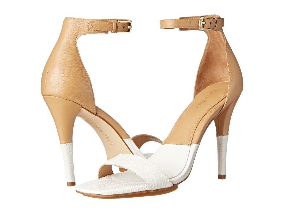 Womens Shoes Calvin Klein Shanti Platinum White/Sand Gold Nappa