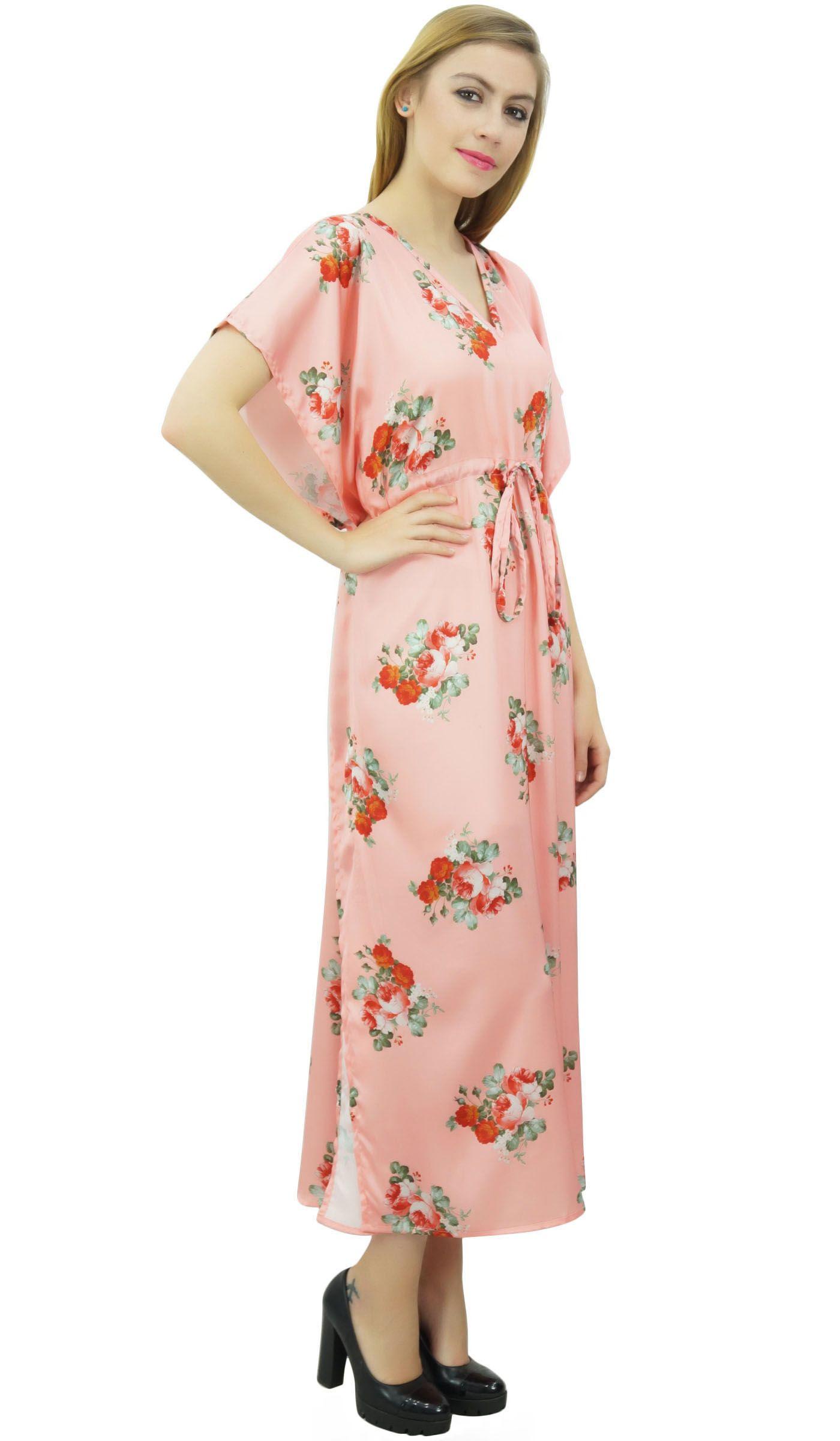 abf19630e1 Bimba Floral Peach Satin Kimono Long Bridesmaid Cover Up Drawstring Kaftan  Satin Kimono