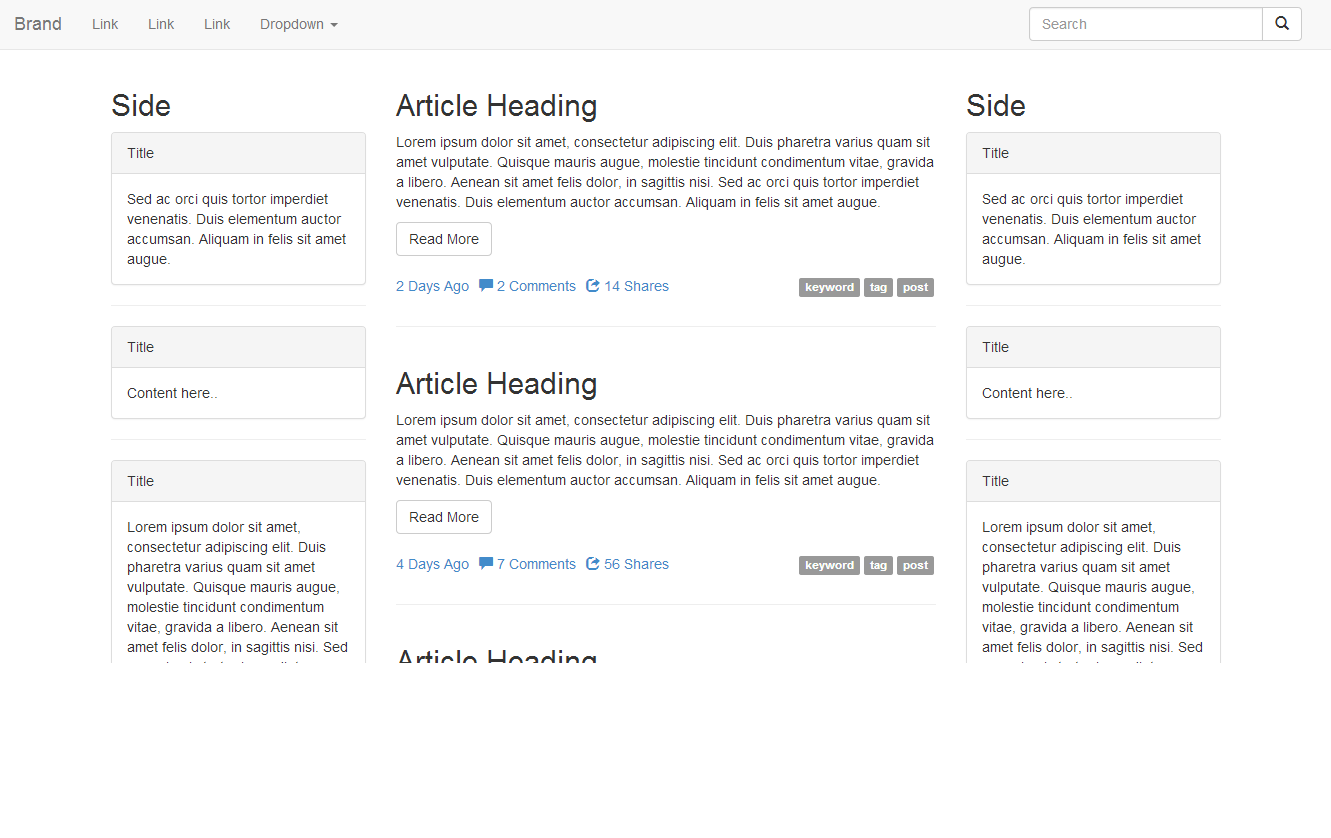 Similar to the Bootstrap documentation, this template features a ...