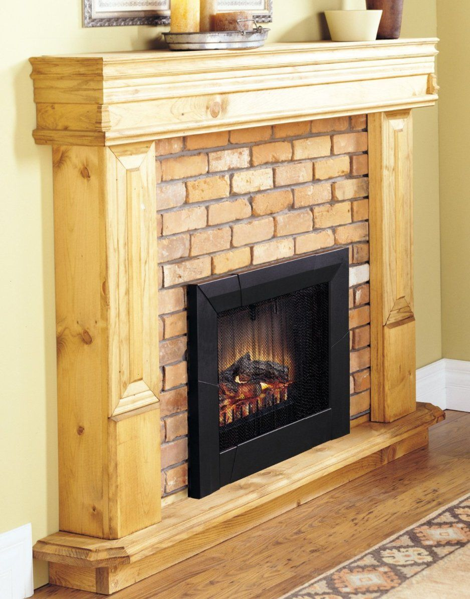 Design Ideas. Alluring Unpolished Hickory Wood Fireplace Mantel With ...