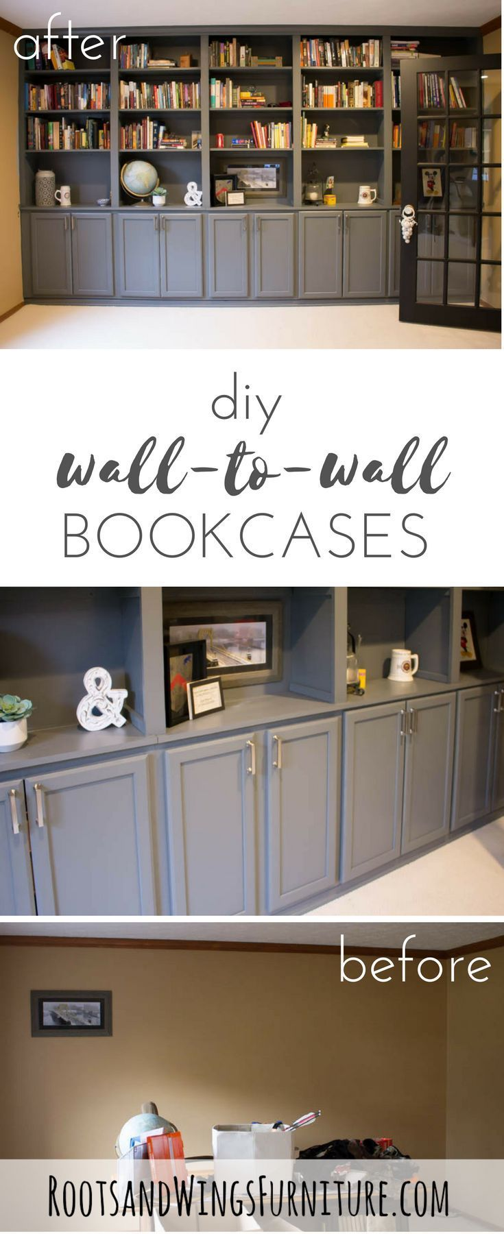 Diy Wall To Wall Book Cases Use Kitchen Cabinets As A Base And Build A Whole Wall Of Built Ins For Y Bookshelves Diy Home Office Storage Used Kitchen Cabinets